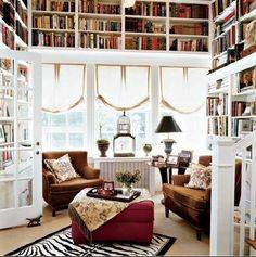 Une bibliothèque entoure le salon