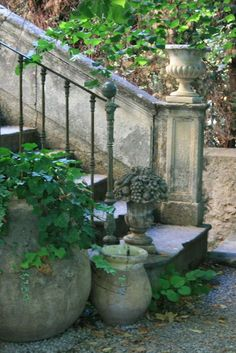 stonework, iron, pots
