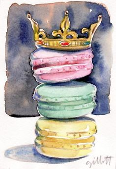 Custom Painting Reserved for Catherine - macarons with the crown on top 9 x 11 inches