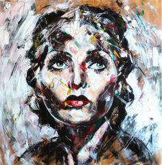 Portrait T118 Acrylique & fusain sur toile 100X100cm http://www.lucile.callegari.fr