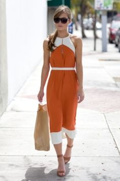Cute orange dress. Nice casual look!
