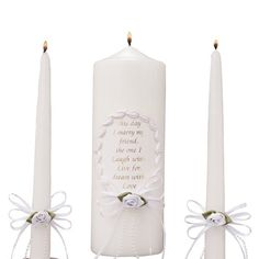 """Celebration Candles Wedding Unity Candle Set, 9-inch Pillar Candle with """"This Day I Marry my Friend"""" Verse , with matching 10-inch Taper Candles, White"""
