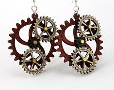 Kinetic Triple Moving Gear Earrings from by GreenTreeJewelry -- kind of cool Steampunk style
