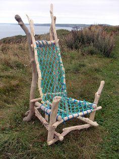 driftwood fishing net chair