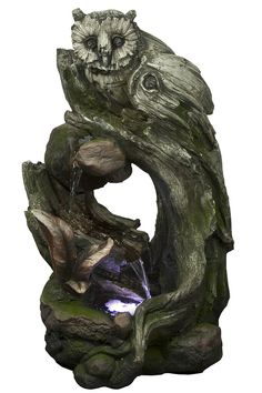 Alpine Owl Rainforest Tree Trunk Fountain with White LED Light, - Great quality, just buy it.See product details and features of Alpine Owl Ra Decorative Fountains, Rainforest Trees, Outdoor Art, Outdoor Decor, Sounds Of Birds, Tabletop Fountain, Fountain Garden, Owl Tree, Waterfall Fountain