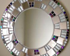 Mosaico hecho a mano hermoso espejo biselado borde plata Azulejo mosaico de vidrio