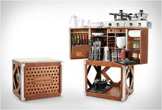 The Camp Champ Box is the ultimate portable kitchen for your camping and 4 wheel trips. The elegant wooden box opens up revealing a rock solid cooking station, and comes complete with first class equipment for up to six people. The box of tricks is skillfully crafted of lightweight boat building plywood that is waterproof, and features aluminum profiles that protect the edges. It even comes complete with a rain cover. The all-in-one kitchen solution also contains an integrated knife block, spice