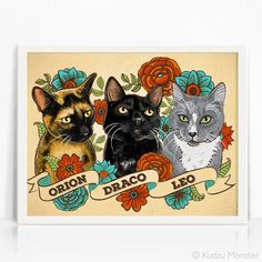 Custom Illustrated 3 in 1 Pet Portrait cat art in a by KudzuMonsterArt
