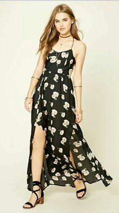 d063480b40cf A woven maxi dress featuring an M-slit front