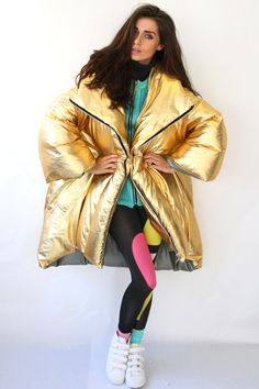 Puffa coat, Gold, sport fashion, Anna Fieldhouse, graduate collection, mmu