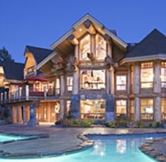 """HAVING A """"RIVER""""FOR SWIMMING POOL IN FRONT OF THE LOG CABIN"""