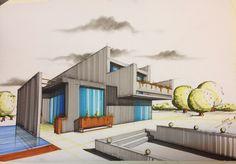 Marker,pastel/Villa. #Architecture #Rendering #Sketching