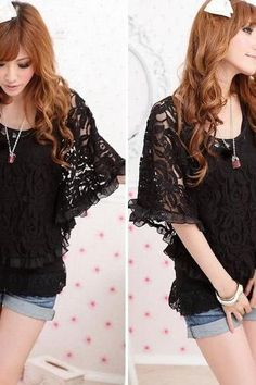 *Free Ship* Black Lace Long Sleeves Top Boho Hippie Chic - SV002432