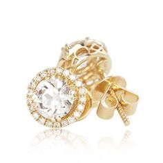 Old European Cut Faux Diamond Halo Stud Earrings In 14 Karat Yummy Yellow Gold