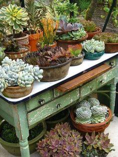 Vintage garden design is a growing trend for outdoor living spaces. We present you vintage garden decor ideas for your garden improvement. Diy Garden, Garden Cottage, Garden Projects, Garden Pots, Diy Projects, Garden Shop, Garden Table, Succulent Garden Ideas, Garden Ideas Diy