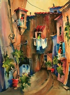 "Amalfi Gossip II by Jinnie May Watercolor ~ 30"" x 22"""