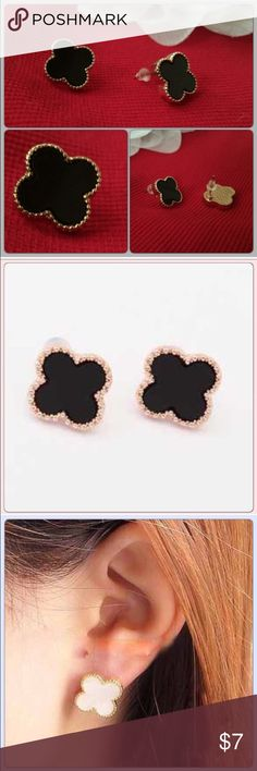 Black Clover Earrings Looks just like the picture.NWOT Tavoos Fashion Jewelry Earrings