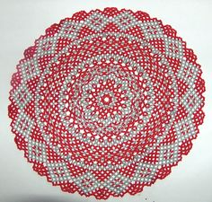 Round beaded doily - red/grey.  $100. Visit my store