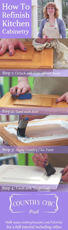 How to paint kitchen cabinets with chalk based paint #countrychicpaint - www.countrychicpaint.com/tutorials