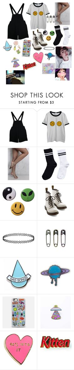 """""""Untitled #483"""" by teenagenightmare ❤ liked on Polyvore featuring American Apparel, Chicnova Fashion, Rare London, Pieces, Dr. Martens, Tim Holtz, Stay Home Club, Casetify, Valley Cruise Press and Laser Kitten"""