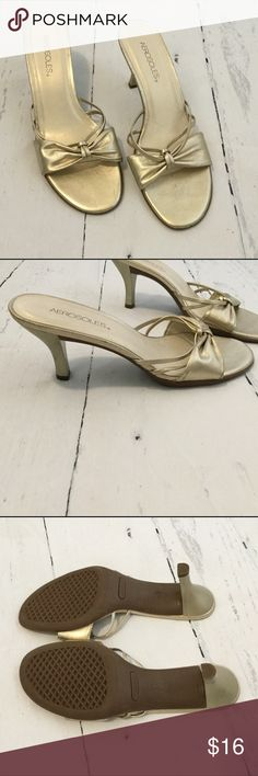 """Metallic Gold Heeled Sandals Light scuffs/scratches on sides but nothing major and not noticeable when being worn in my opinion. Otherwise in pretty great condition! Heel is 3"""" AEROSOLES Shoes Sandals"""