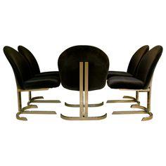via BKLYN contessa :: Set Of Six Cantilevered Brass Dining Chairs Att: Pierre Cardin
