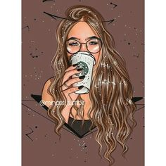 Our first cup of morning coffee is so good but the Second cup is waker upper for me ☕☕🍰🍰 GOOD MORNING MY LOVE have a great day 😘 Meri jaán 💏 Meri Zindagi 💏 for ever jàno ❤️ hirA. 🍒🍒🍒 You are in the right place about girl cartoon drawing[. Beautiful Girl Drawing, Cute Girl Drawing, Cartoon Girl Drawing, Girly M, Cartoon Kunst, Cartoon Art, Girly Drawings, Tumblr Drawings, Tumblr Girl Drawing