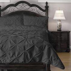 Emerson 4-Piece Pinch Pleat Puckering Comforter Mini Set , Queen, Charcoal