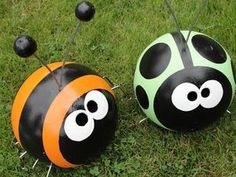 Recycled bowling balls,,,too cute !