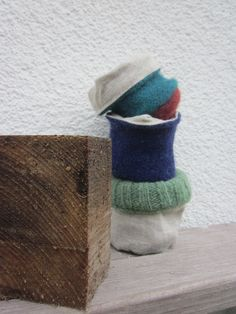 handcrafted green, purple and turquoise soft planter and soft storage for a natural style and a touch of simplicity - combination of wool, linen and wood