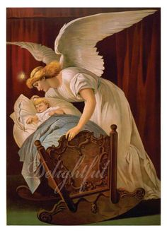 Guardian Angel Whispers to Baby in Cradle