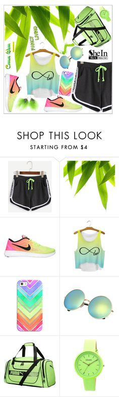 """SheIn Shorts ~~ ♥"" by av-anul ❤ liked on Polyvore featuring WithChic, Casetify, Puma, Crayo, Emi Jewellery, shein and avanul"