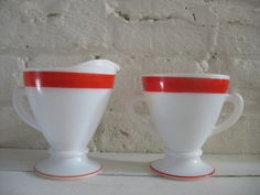 Vintage Candy Striped Creamer and Sugar Bowl - Milk Glass Candy Stripes, Gold Stripes, Vintage Candy, Vintage Kitchenware, Red Paint, Milk Glass, Sugar Bowl, Tableware, Holiday