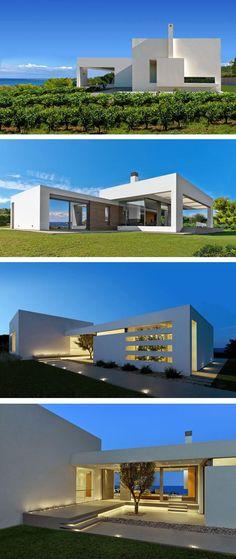 Casa blanca bonita de un piso
