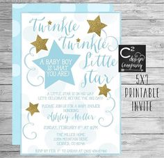 Blue & Gold Twinkle Twinkle Little Star Baby Shower Invitation by cSquared Design Co on Etsy