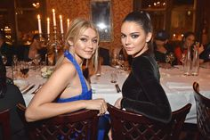Gigi Hadid and Kendall Jenner at the Balmain Fall 2015 show after party in Paris