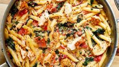 Penne s kuřetem v krémové omáčce s rajčaty a špenátem Foto: Chicken And Bacon Carbonara, Spinach Pasta, Chicken Pasta, Penne, No Cook Meals, Macaroni And Cheese, Dinner Recipes, Food And Drink, Cooking Recipes