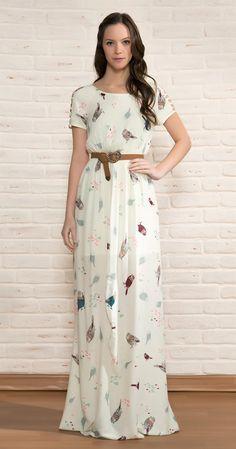 Vestido Longo Pássaros Étnicos | Vestuário | Antix Store