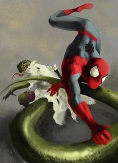The Lizard battles Spider-Man by Dimitar Torbakov