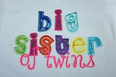 Big little sister of twins applique shirt by Skunkysmonkeys, $24.00