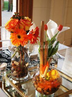 Centro de mesa diseño Flores y Piedras. www.floresypiedras.cl