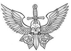winged skull knife thingy tattoo