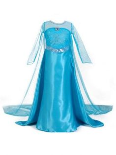7ed151f86ce Big Girls Blue Long Tail Holidays Halloween Occasion Dress Elsa Cosplay