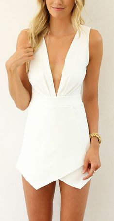 White V-Neck Romper