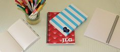 hard back and spiral personalized journals - just in time for back to school!
