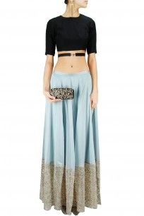 Black high low blouse with pale blue star embroidered lehenga