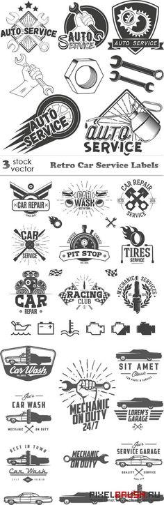 Vectors - Retro Car Service Labels Source by Typography Logo, Logo Branding, Branding Design, Lettering, Logos Online, Car Logo Design, Service Logo, Retro Logos, Mechanical Design