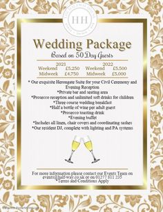 The Halfway House Restaurant, Bar & Herongate Function Suite Brentwood added a new photo — at The Halfway House Pub & Herongate Function Suite 2021 and 2022 Wedding packages - contact us today to arrange a consultation 01277 811235 Prosecco Bar, Wedding Venues Essex, Halfway House, House Restaurant, Civil Ceremony, Reception, Packaging, Day, Frame