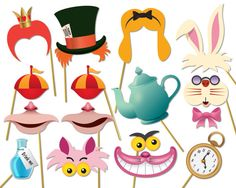 Alice in wonderland party photo booth props set por Instantgraffix