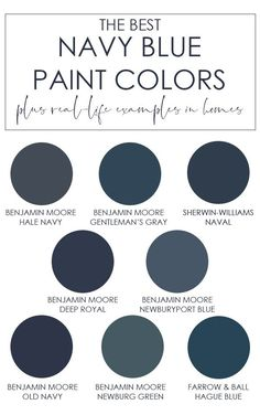A selection of the best navy blue paint colors from a variety of paint brands. Learn the undertones of each to find which color is best for your home! Includes colors like Benjamin Moore Hale Navy, Sherwin-Williams Naval, and more! Best Blue Paint Colors, Paint Colors For Home, Color Blue, Office Paint Colors, Paint Colours, Exterior Paint Colors, Bedroom Paint Colors, Glidden Paint Colors, Exterior Design
